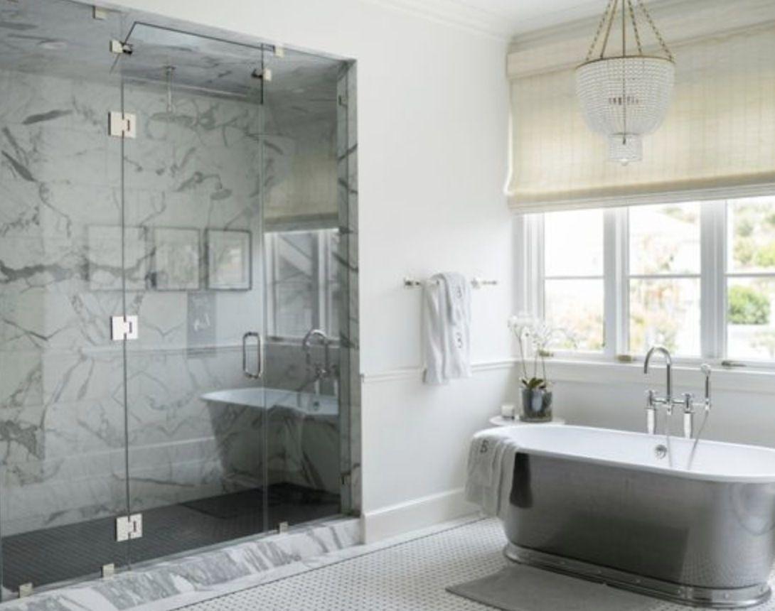 Huge transitional master white tile mosaic tile floor and white ...