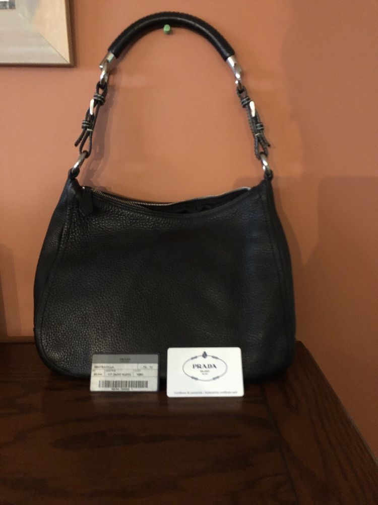 0111e3576cd74c Authentic Prada Black Leather Hobo Bag@ebay @pinterest #leather  #shoulderbag #product #leatherhandbag #money