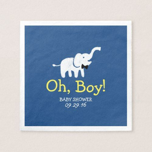 Review Oh Boy Elephant Navy Blue Baby Shower Paper Napkin Elegant - Style Of navy napkins Top Search