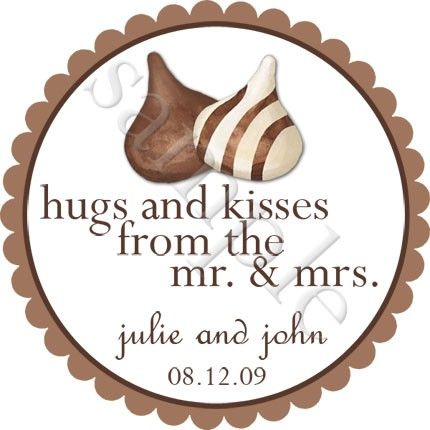 Hugs And Kisses Personalized Stickers Wedding Favor Labels Chocolate