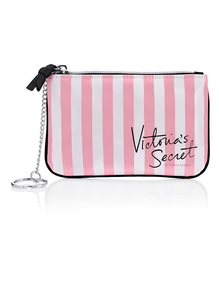 1 VICTORIA/'S SECRET SIGNATURE STRIPE MAKEUP BAG COIN PURSE WITH CHAIN NEW!