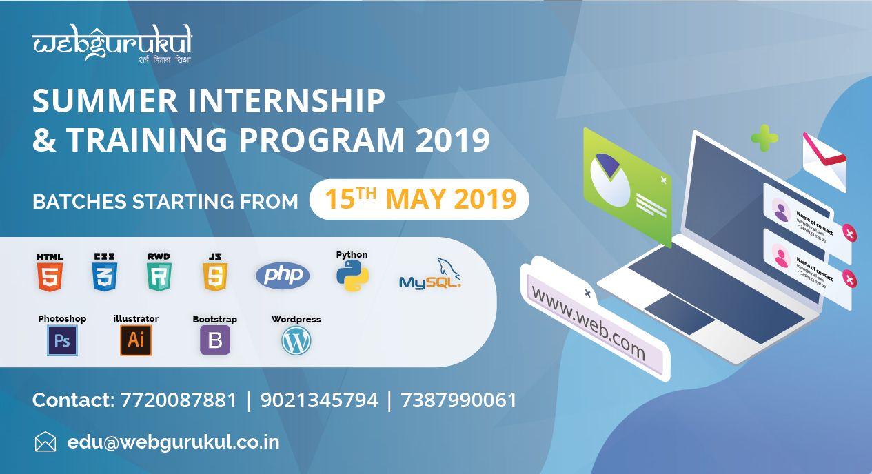 Webgurukul Summer It Internship Training Program 2019 With Images Internship Program Training Programs Summer Internship