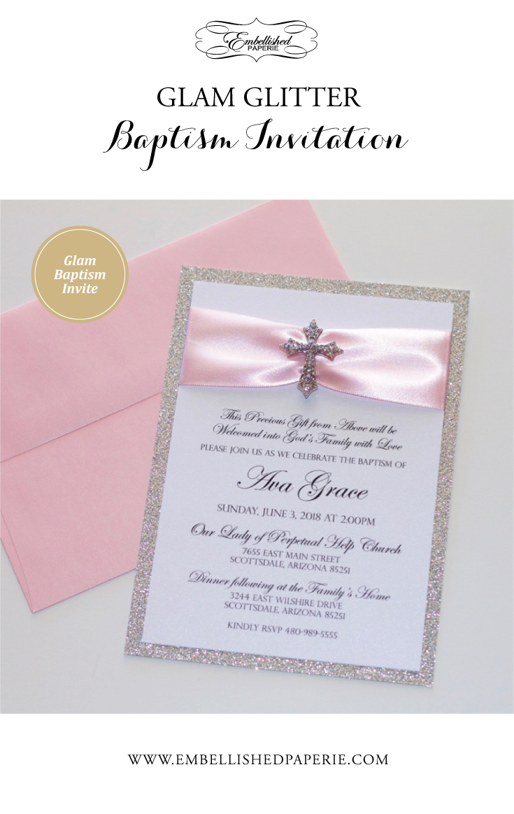 Glam Glitter Baptism Invitations Printed on White metallic card – Card Stock for Invitations