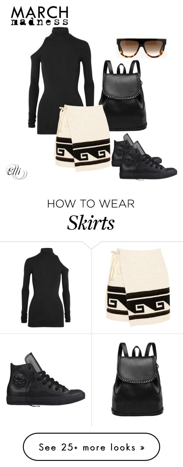 """""""Skirts And Converse"""" by elli-skouf on Polyvore featuring Vetements, Isabel Marant, Converse, CÉLINE, black, hightops and PVHint"""