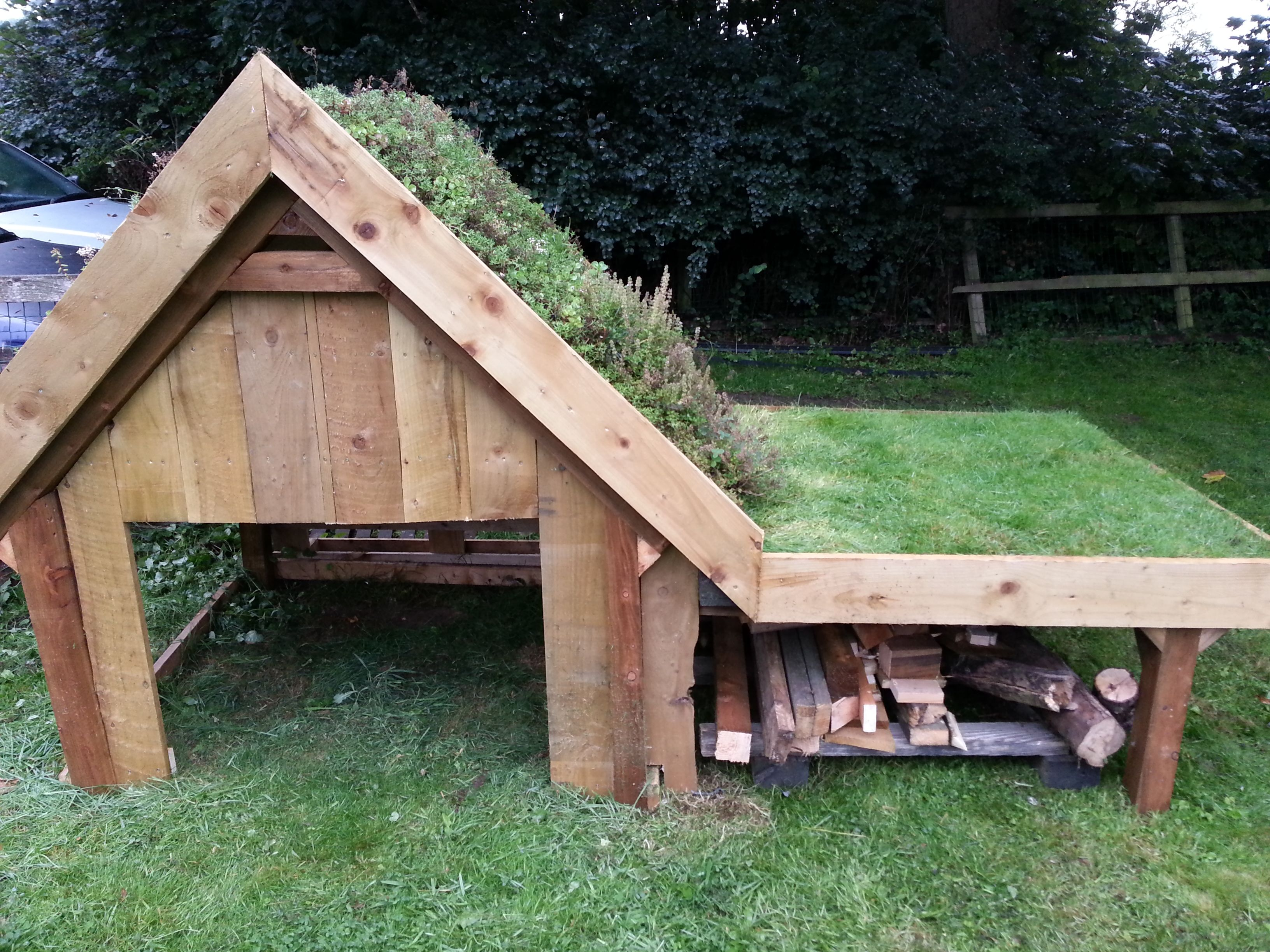 Our Dog Kennel Sedum On The Pitched Roof And Turf On The