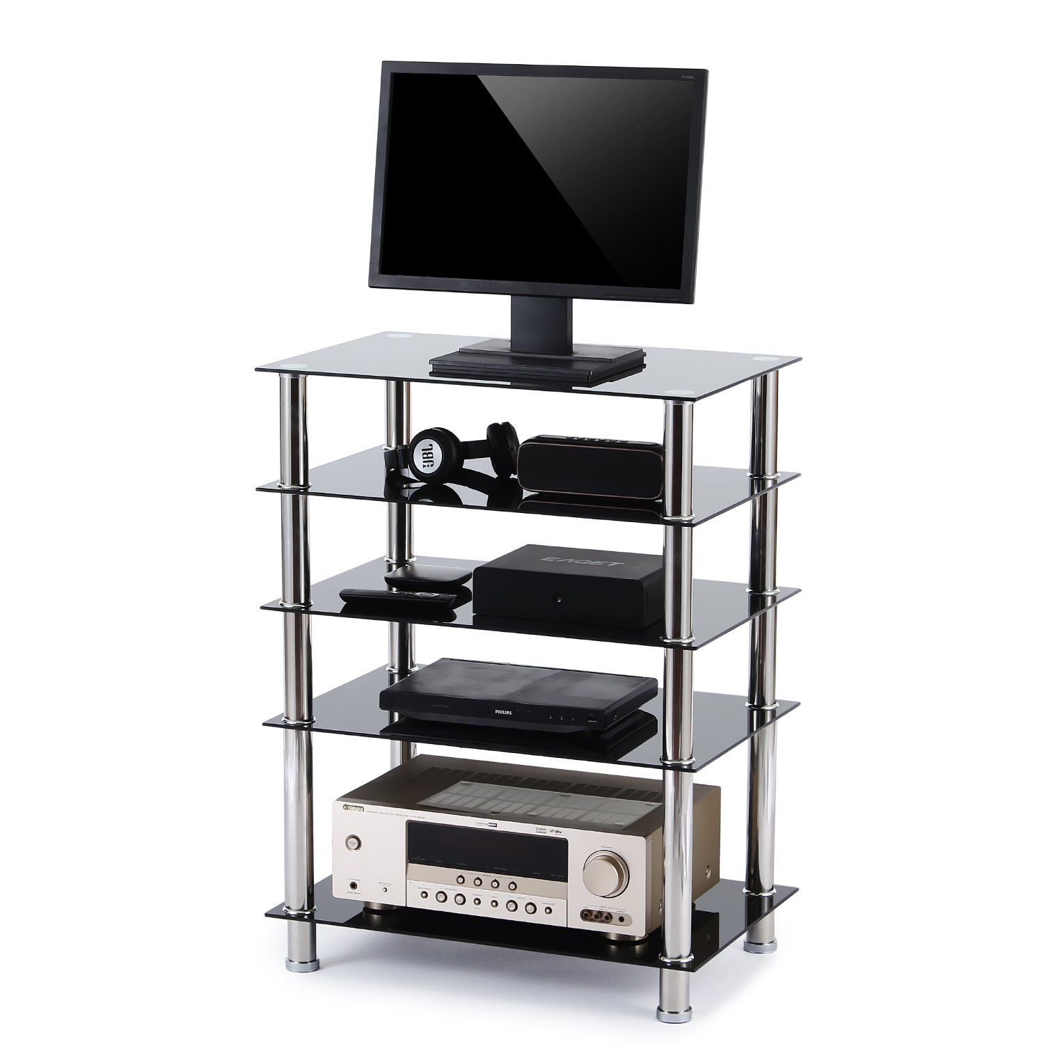 Rfiver 5tier Black Glass Audio Video Tower For Tv Xbox Gaming