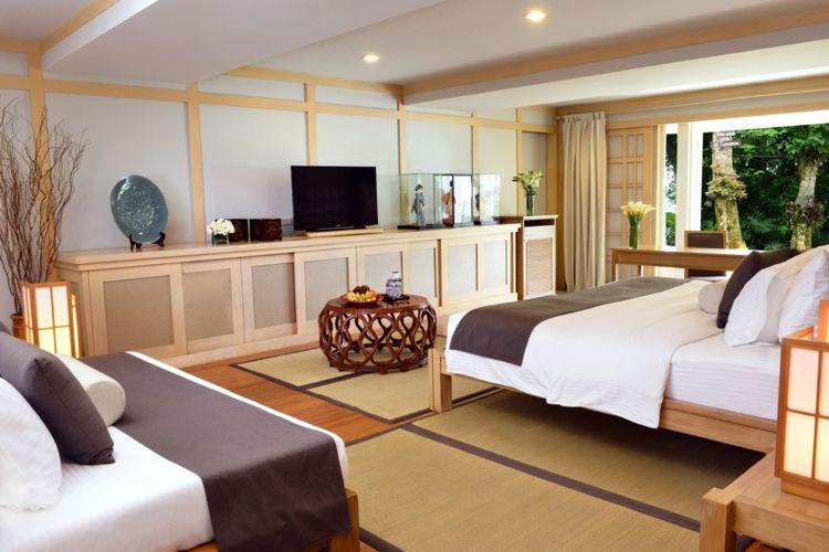 Japanische Tatami Matten in einem modernen Schlafzimmer   Bodenbelag ...