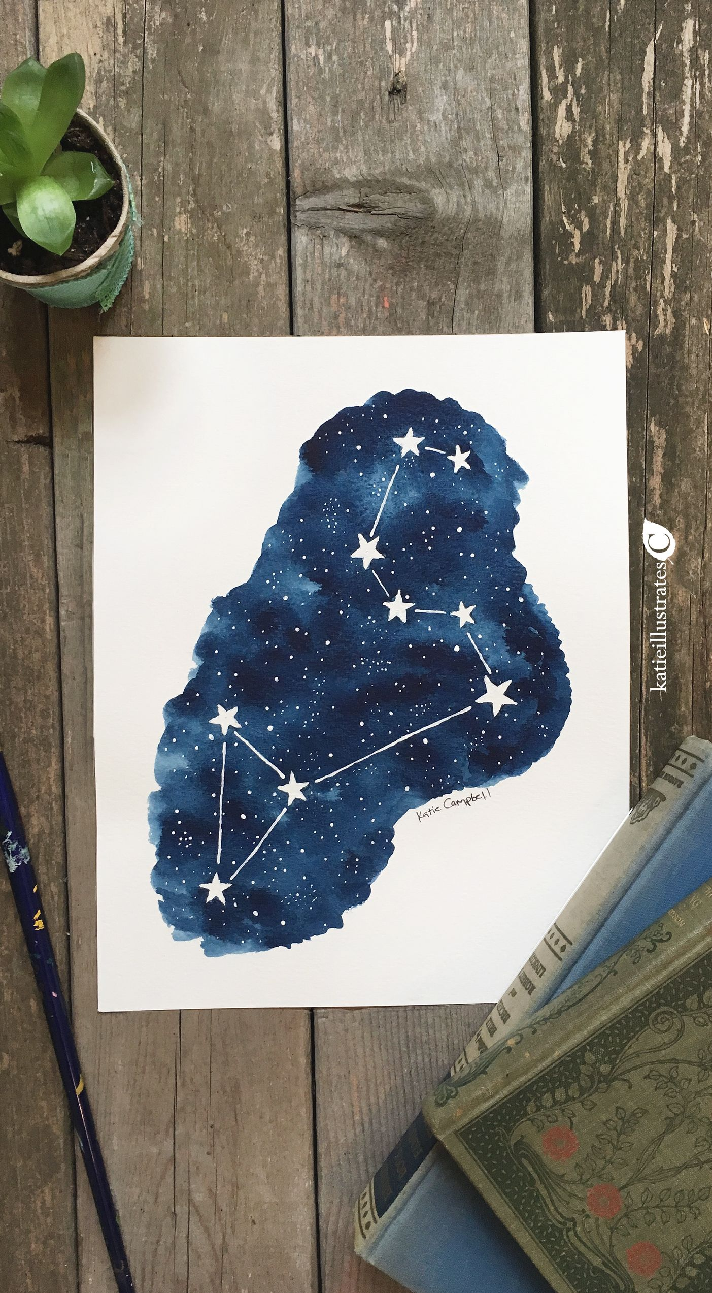 Original Painting In Watercolor Of The Zodiac Constellation Leo