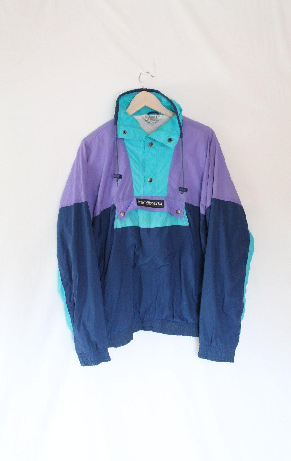 86510e9e Rare 90s Windbreaker Snap Up Pullover by WINDBREAKER // Vintage Vaporwave  Jackets // Colorblock Blue Turquoise Purple by VegaGenesisVintage on Etsy