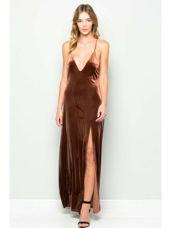 Copper Velvet Slit Maxi Dress | Dear Society | Kansas City, MO ...