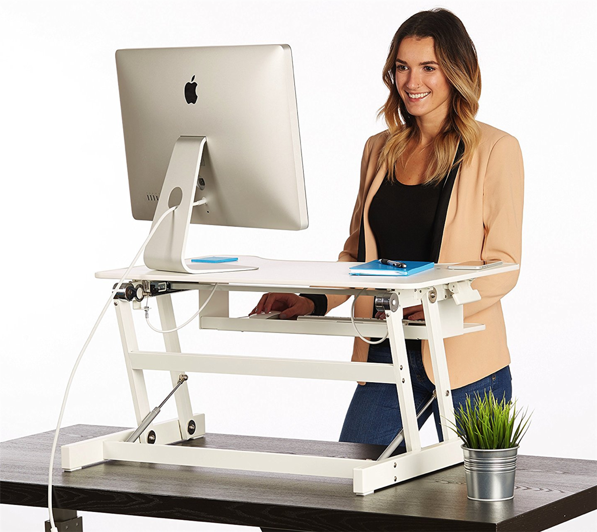 White Standing Desk The Deskriser Height Adjustable Heavy Duty Sit To Stand Office Desk Supports Up To 50 Lbs 32 Wide Sit Stand Up Desk Converter Adjustable Standing