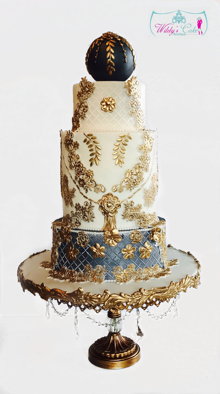 Elegant Gold And Grey Wedding Cake
