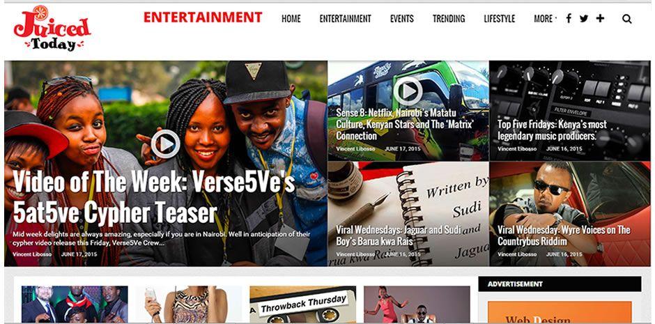 Juiced Today Online Entertainment Magazine Ecommerce Website Design Web Design Company Entertainment Magazine