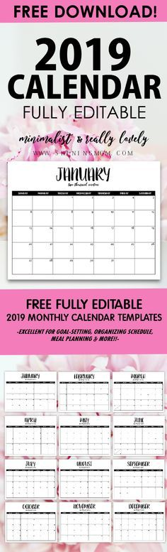 FREE Fully Editable 2019 Calendar Template in Word imprimibles