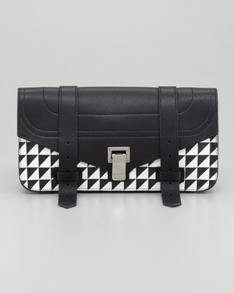 CONTRASTING VIEWS: @Proenza Schouler PS1 Pouchette with Triangle-Print
