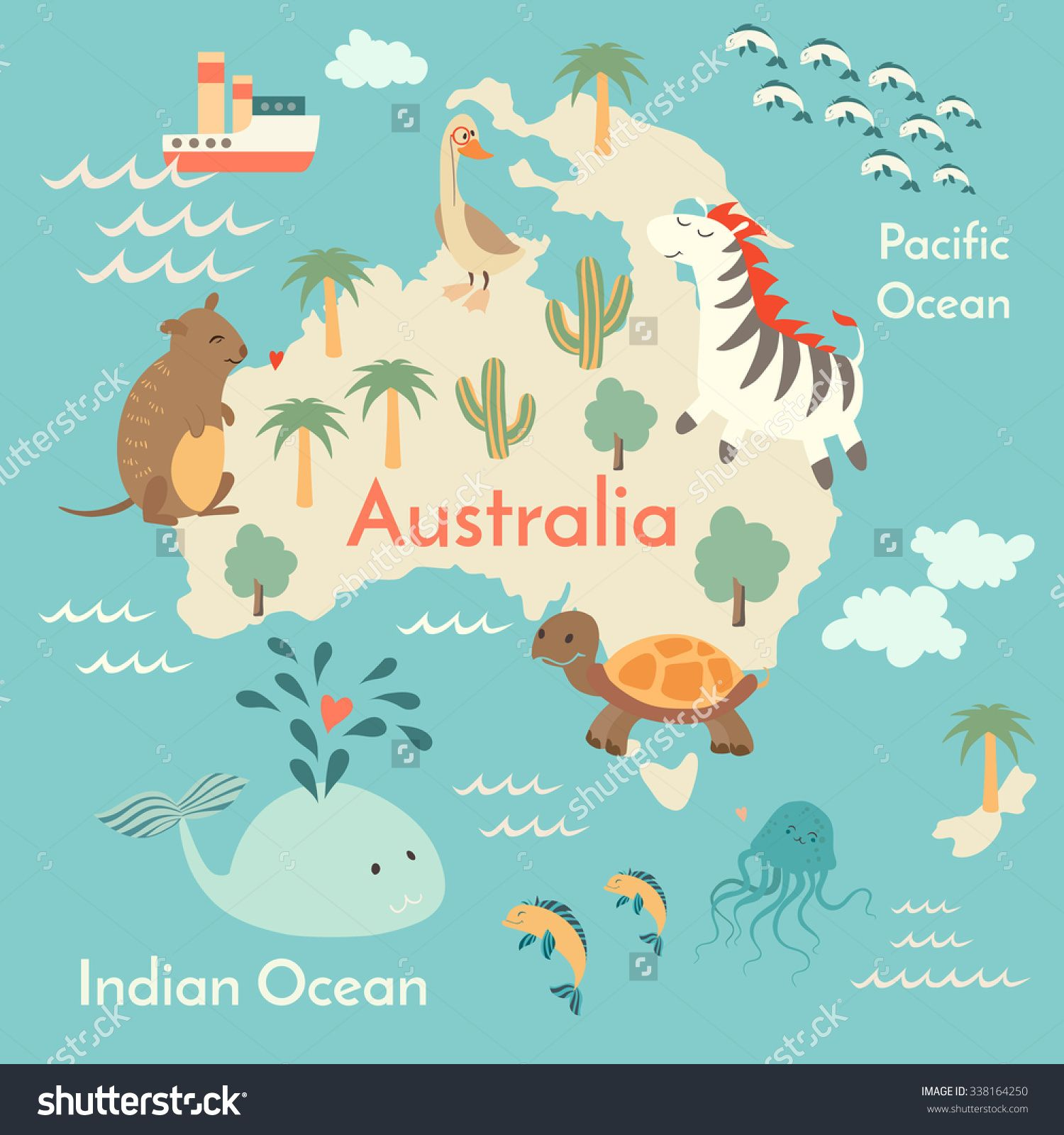 Animals World Map AustraliaAustralia Map For ChildrenKids - Australian map of the world
