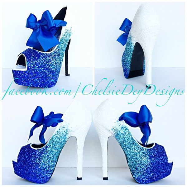 717a21827e Glitter High Heels Royal Blue Robins Egg White Ombre Peep Toe Pumps...  ($115) ❤ liked on Polyvore featuring shoes, pumps, heels, light purple, ...