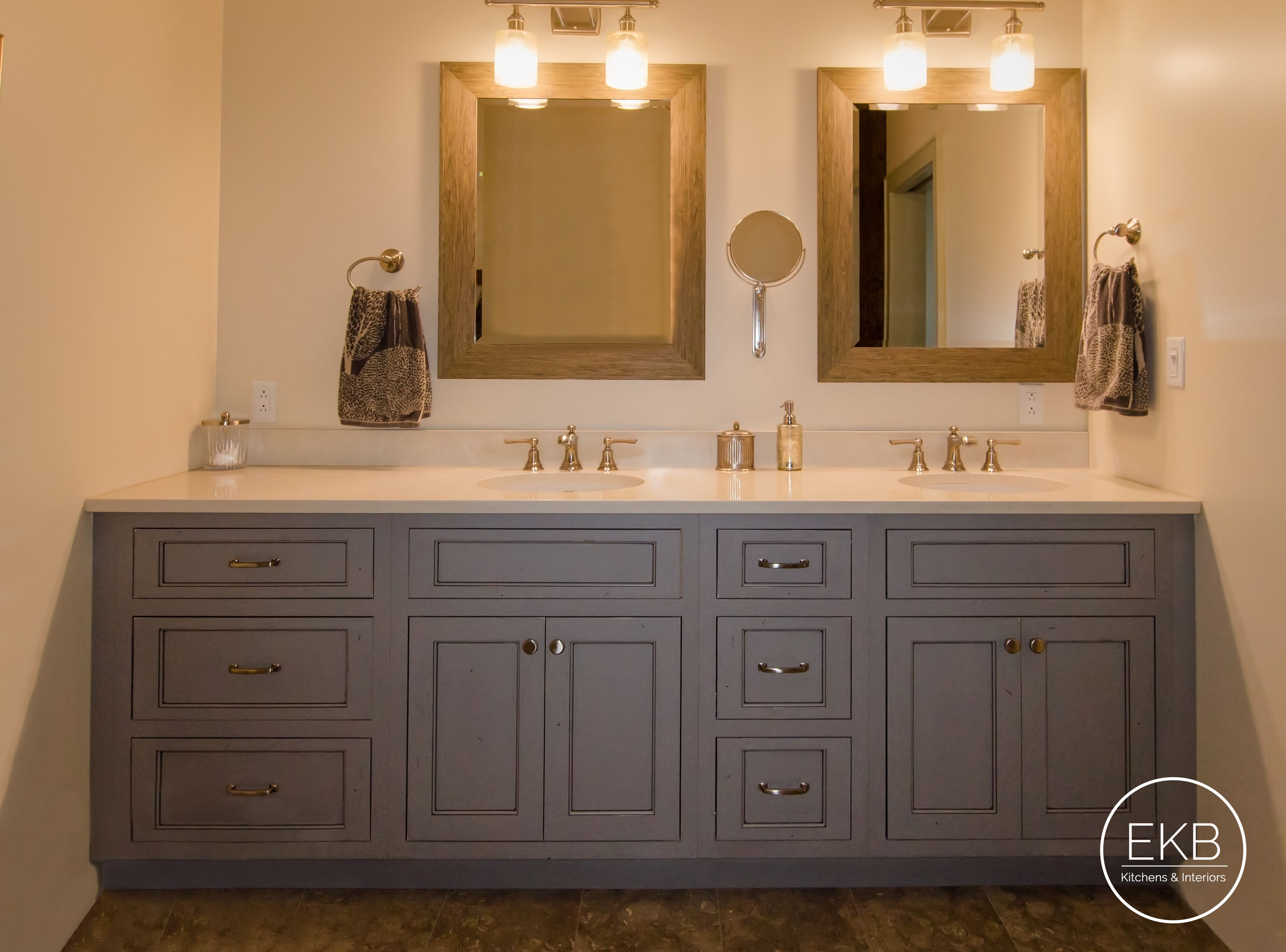 Shiloh Flush Inset Master Bath Vanities In A Dovetail Grey With Mocha Glaze And Distressing Master Bath Vanity Installing Kitchen Cabinets Kitchen Remodel