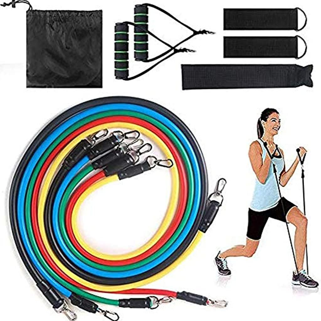 Life up Resistance Band Set Workout Exercise Bands with 5 Fitness Tubes 2 Handles 2 Ankle Straps Doo...