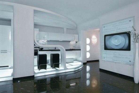 Modern Interior Design at Futuristic Apartment Interior ...