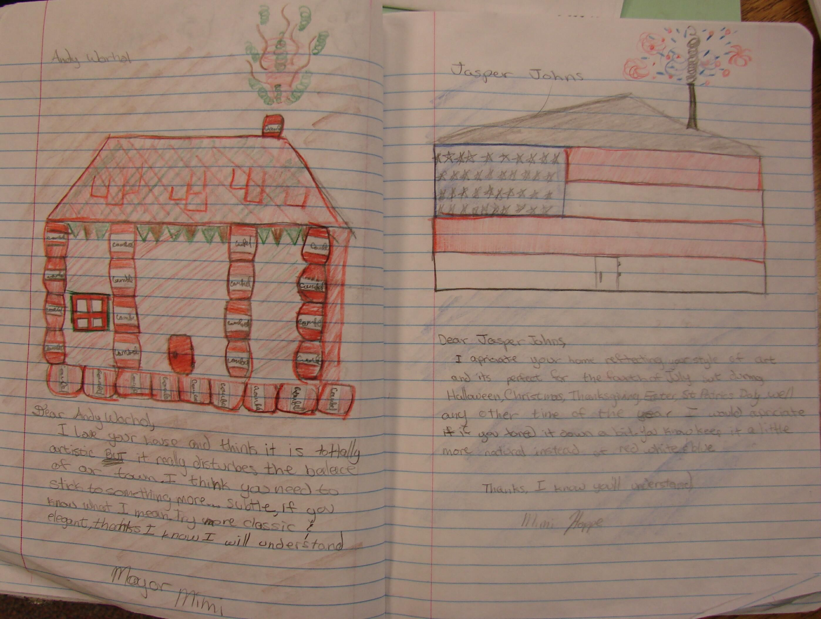 6th grader Meredith took me up on my extra credit challenge of writing imaginary letters of complaint to artistic neighbors she might live next to.  Here are her letters to Andy Warhol and Jasper Johns.  Here is the online write-up for this notebook lesson: http://corbettharrison.com/GT/Pigasso-Mootisse.htm