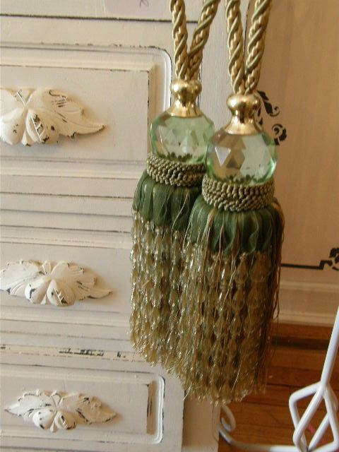 Crystal Beaded Curtain Tie Backs In Sage Green And Golden Yellow