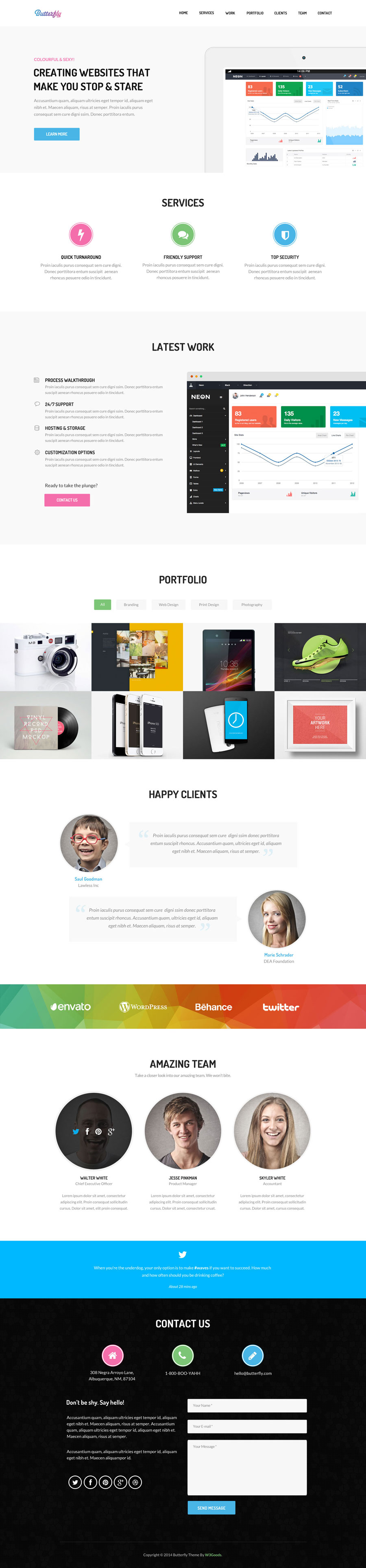 Butterfly Free Bootstrap Theme Ressources Photoshop Theme