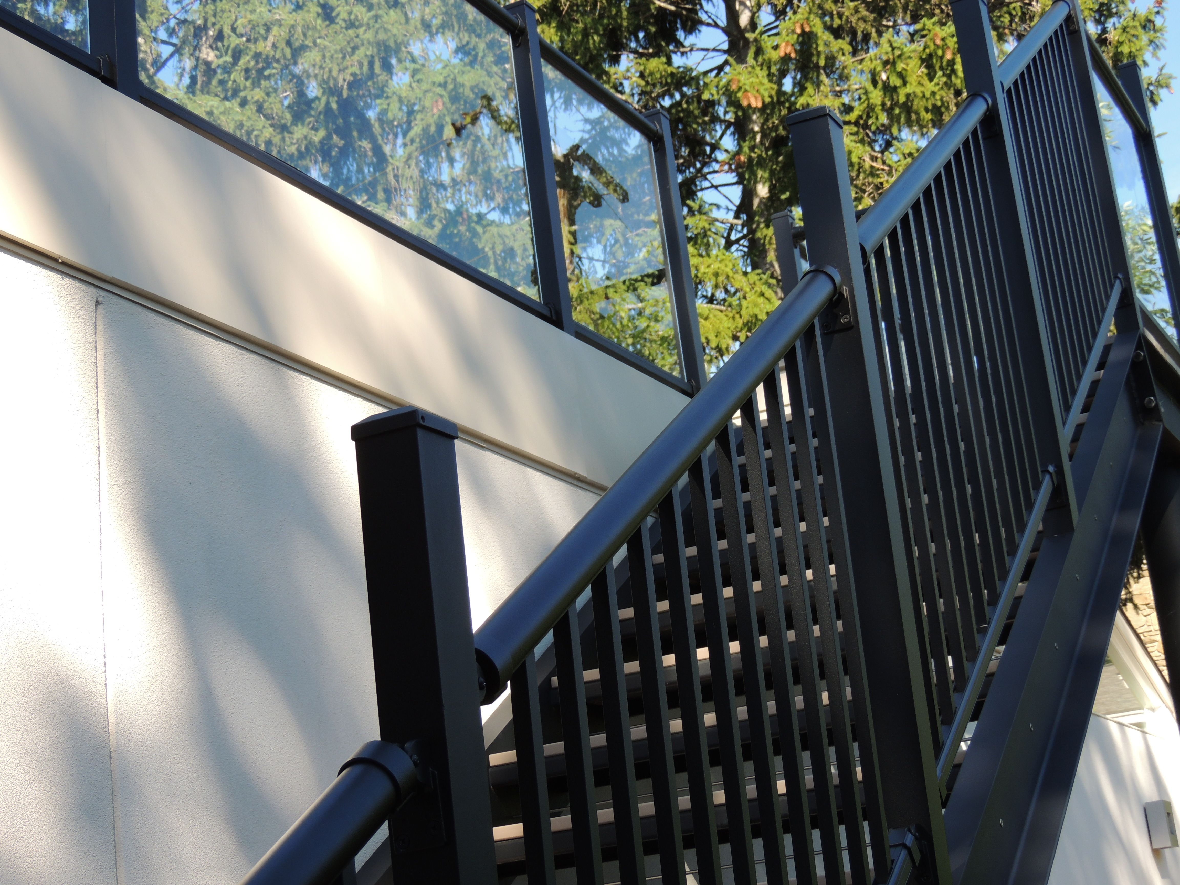Black Ornamental Aluminum Stair Railing With Posts Left High Due To  Customers Request (wants To