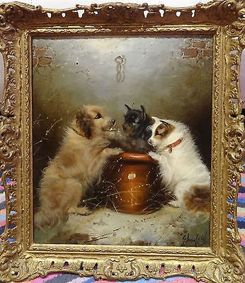 Fine-19th-Century-English-Terrier-Dogs-Interior-Antique-Oil-Paining-E-ARMFIELD