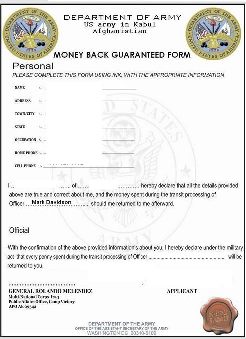 Con Artists Using Fake Military Documents To Swindle Money Using