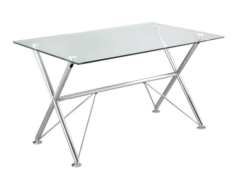 mesa escritorio cristal transparente y cromo. www.actuadecor.com ...