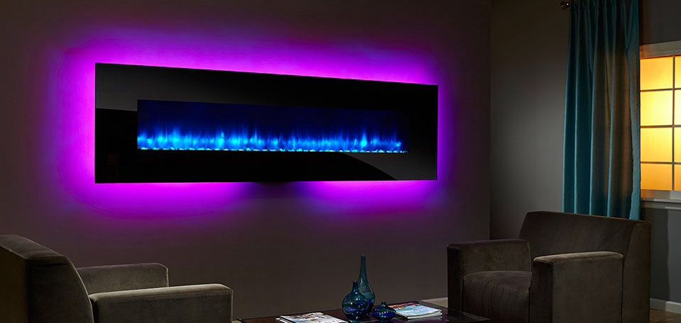 Simplifire Linear Wall Mounted Electric Fireplace Blue Flame Purple Led