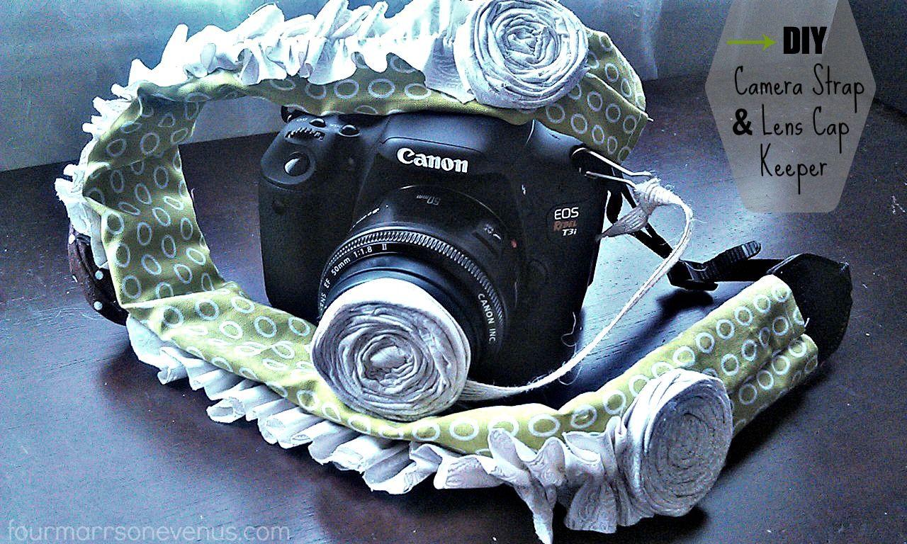 DIY Camera Strap and Lens Cap Keeper   by: fourmarrsonevenus.com