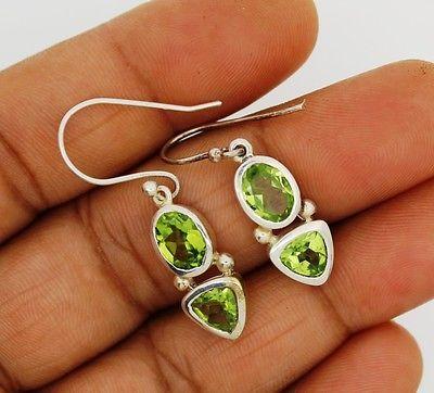 Peridot earrings solid silver 925 Sterling  jewelry natural gemstone handmade