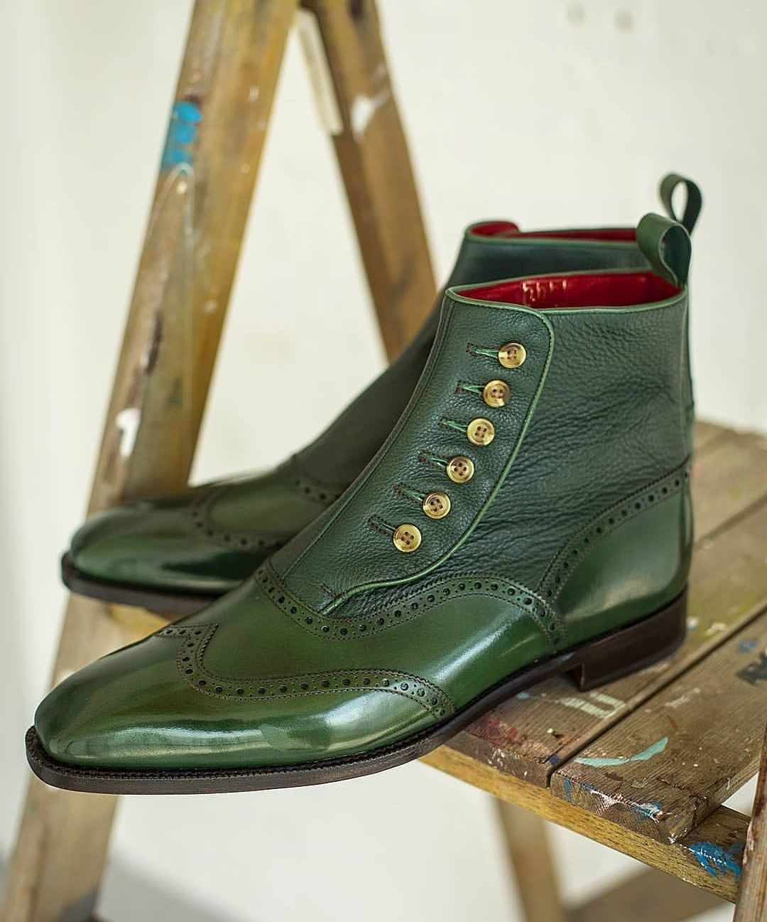 Handmade Men 2 Tone Green Leather Boot Men Ankle High Button