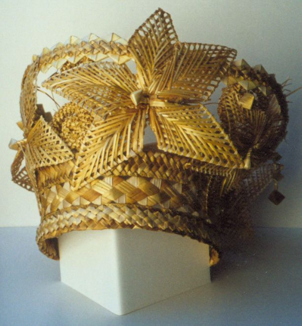 Straw Crown from Belarus - by Tamara Bludovy;  Traditional plaited straw creations from Belarus, Russia and Ukraine are worn for many festival settings.