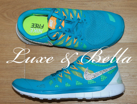 0f15c40a4d76 Over Half Off Nike Run Free 5.0 2014 Womens Shoes Teal with Swarovski  Crystals