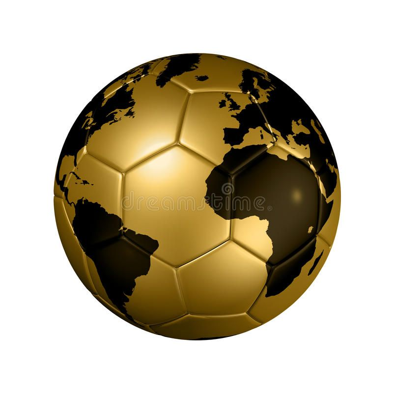 Gold Soccer Football Ball World Globe 3d Isolated Gold Soccer Ball With World M Sponsored Ball World Globe Gold Soccer Gear Soccer Football Ball