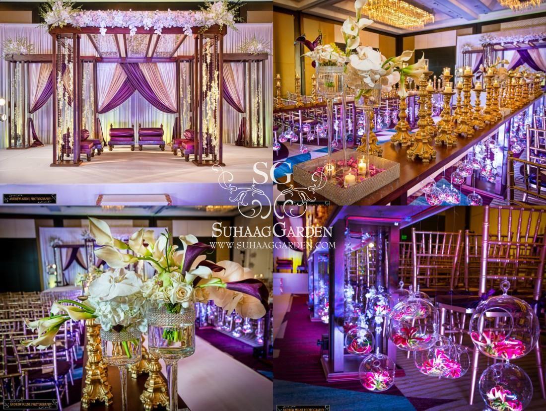 plum, magenta, suhaag garden, florida indian wedding decorators