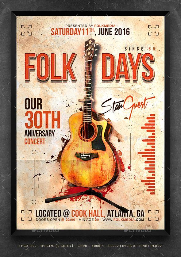 Folk Flyer Poster Template Poster Template Music Poster Design Concert Poster Design