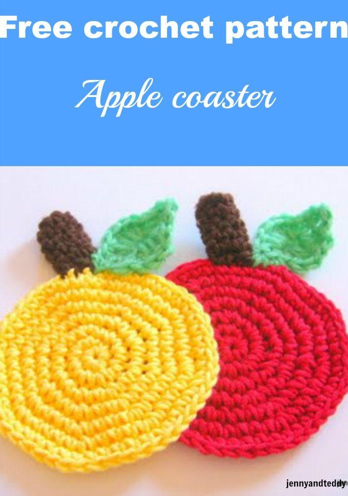 easy apple crochet coaster free pattern | plantas | Pinterest ...