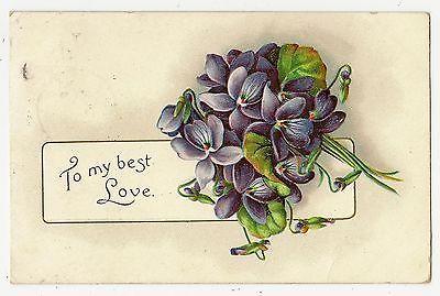 ANTIQUE-VINTAGE-VALENTINES-DAY-POSTCARD-BOUQUET-PURPLE-VIOLETS-FLOWERS-1909