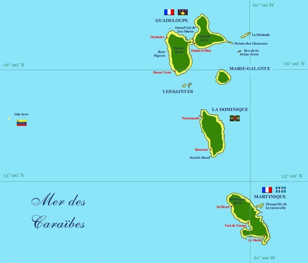 carte Guadeloupe Martinique. | Caribbean Travel Collective