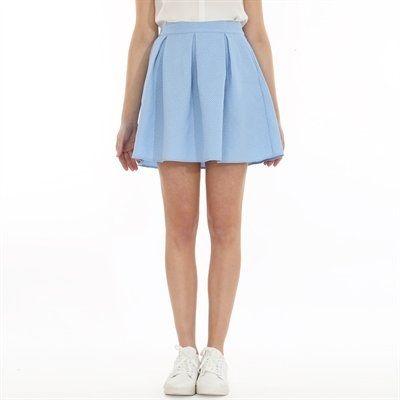 Pimkie Fr Coloris Bleu Vintage Aspect Gaufre Et Forme Patineuse La Jupe Multiplie Les Bons Points Jupe Patineuse Jupe Courte Jupe