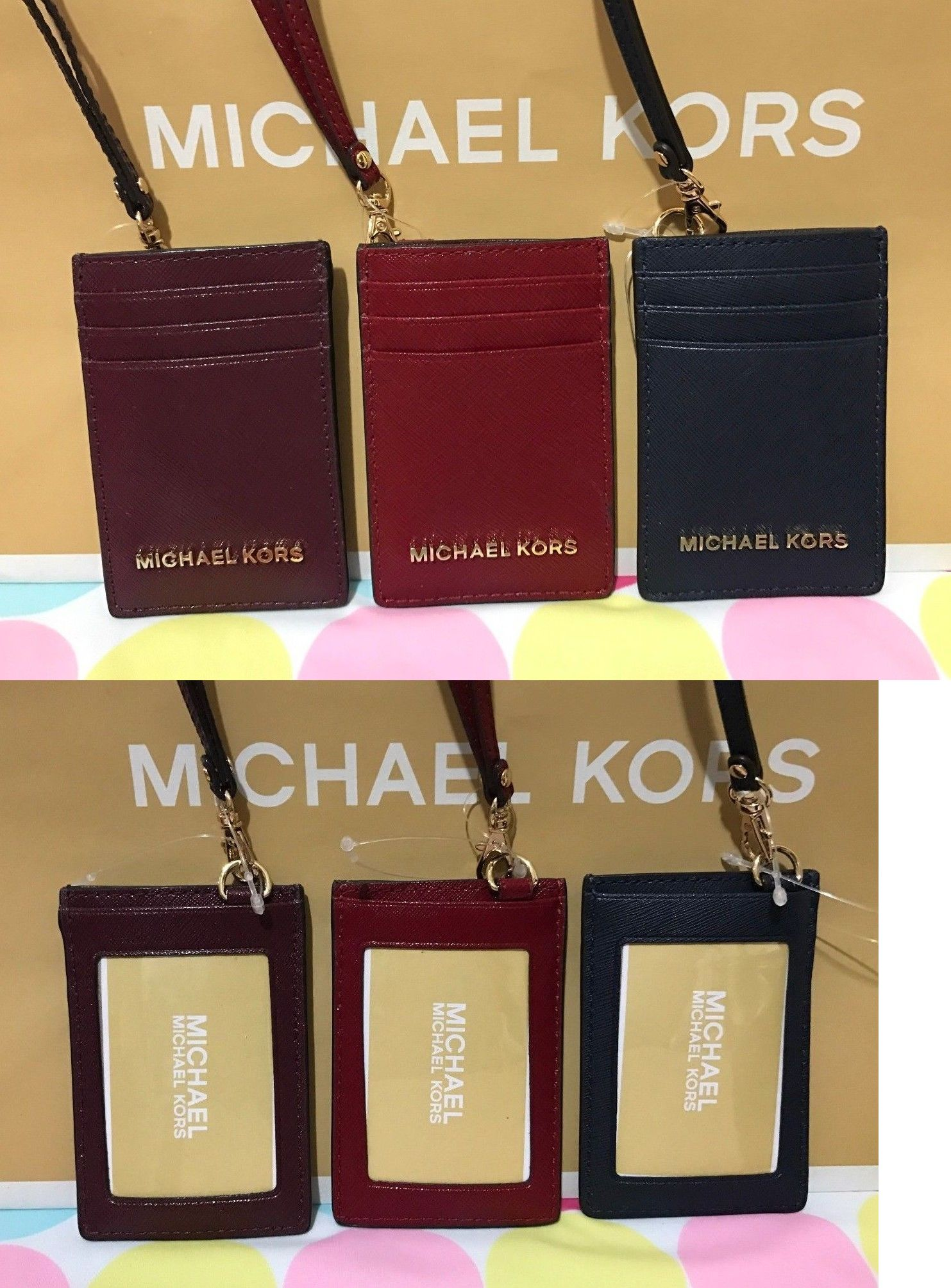 6d6c150b4de2 ... ID and Badge Holders 169287 New Michael Kors Jet Set Travel Saffiano  Leather Lanyard Id ...
