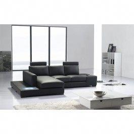 T35 Mini Modern Black Leather Sectional Sofa  blacksofa
