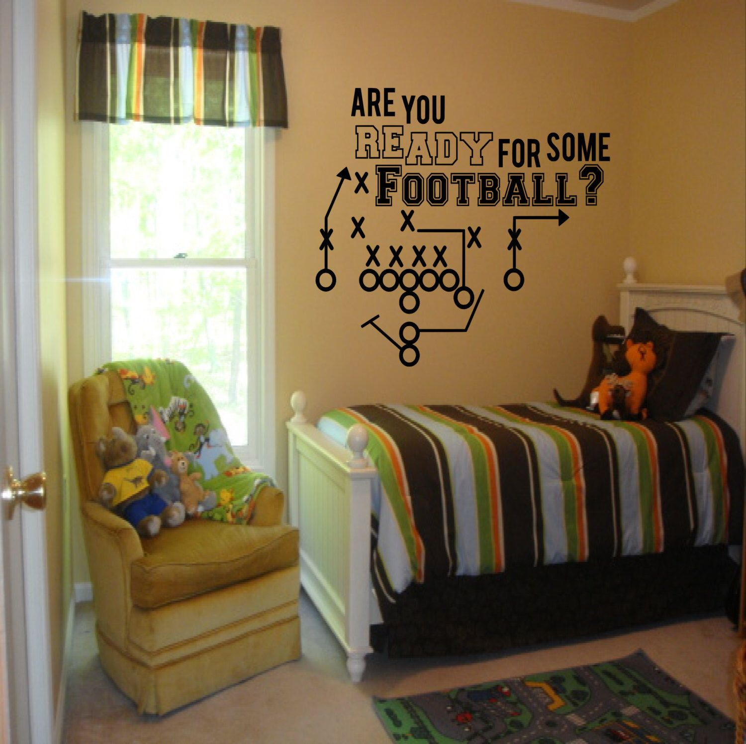football laces wall decal boys room decor football by sportsvinyl