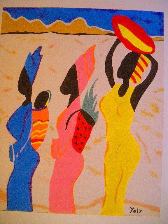 Pintura oleo, cuadro pintado a mano. Serie africana