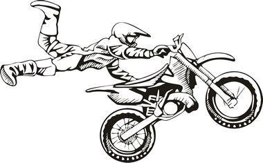 Motocross Cartoon Art Motocross Vinyl Decal 19 00 Bike