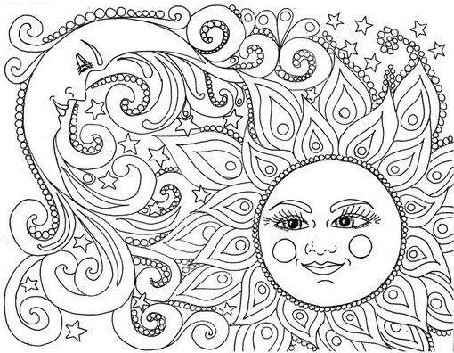 Месяц солнце | Шаблоны для всего | Pinterest | Adult coloring ...